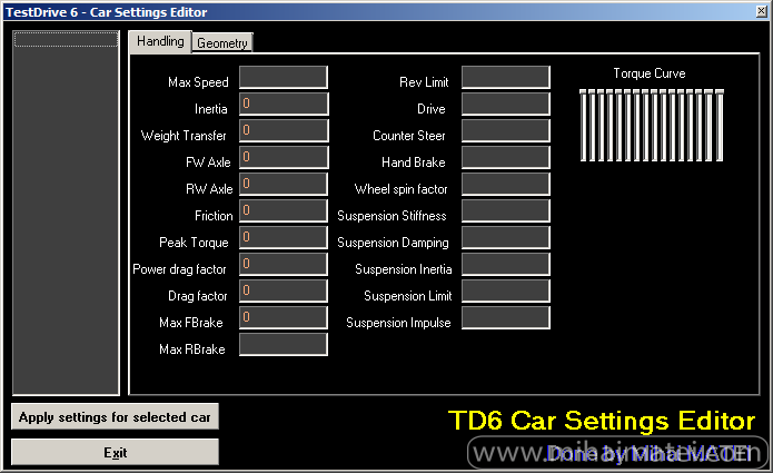Test Drive 6 - Car Settings Editor
